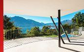 Architecture, modern villa, view from the veranda