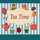 Vintage  Background Of Tea Time - Illustration