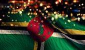 Dominica National Flag Light Night Bokeh Abstract Background