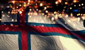 Faroe Islands National Flag Light Night Bokeh Abstract Background