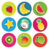 Set of fruit icons in the circles: bananas, carambola, coconut, kiwi, lime, mango, pineapple, strawberry, watermelon. Vector illustration.