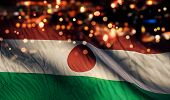 Niger National Flag Light Night Bokeh Abstract Background