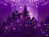 Background night city. Vector illustration