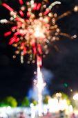 Firework In Night Fun Fair Carnival