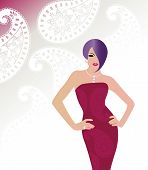 stock photo of hourglass figure  - Glamour Woman  with paisley pattern on dress and on wallpaper behind  - JPG