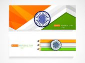 Website header or banner set in national tricolor with ashoka wheel for Indian Republic Day celebration.