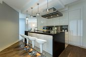 Contemporary Kitchen With Designer Chairs
