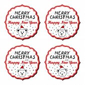 Polar bears in Santa Claus hats vintage frame with Christmas wishes in English sticker set