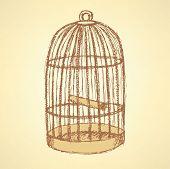 Sketch Bird Cage In Vintage Style