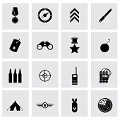 stock photo of military helicopter  - Vector black military icons set on grey background - JPG