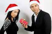unhappy couple for a gift at Christmas