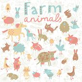image of baby goose  -  Funny farm animals in vector set - JPG