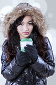 Pretty Female With Hot Drink