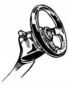 picture of steers  - vector illustration of a steering wheel stylized as engraving - JPG