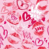Seamless Pattern With Brush Strokes And Scribbles In Heart Shapes, Lips Prints And Words Love, I Lov
