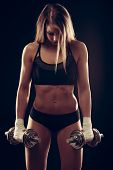 Attractive Young Woman Working Out With Dumbbells - Bikini Fitness Girl With Healthy Lifestyle And P