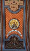 TRAVNIK, BOSNIA AND HERZEGOVINA - JUNE 11: Saint Francis Jerome, fresco on the ceiling of the church of St. Aloysius in Travnik, Bosnia and Herzegovina on June 11, 2014.