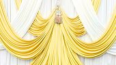 Gold And White Curtain On Stage