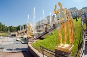 Peterhof Palace With Grand Cascade In Sunny Day
