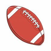 American Football Ball Isolated On A White Background. Colored Line Art. Retro Design. Vector Illust
