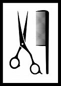 picture of barbershop  - scissors and comb silhouette on black frame  - JPG