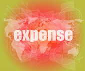 Word Expense On Digital Screen, Business Concept