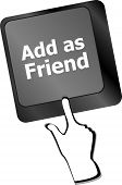 Social Media Concept: Keyboard With Add As Friend Button