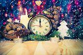 Festive Christmas Clock Time Twelfth New Year