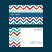 Vector colorful ikat chevron horizontal stripe frame pattern business cards set