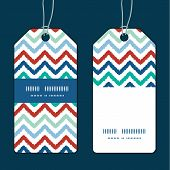 Vector colorful ikat chevron vertical stripe frame pattern tags set