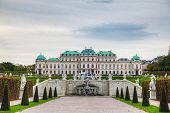 Belvedere Palace In Vienna, Austria On A Cloudy Day