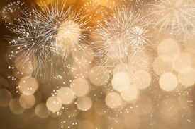 picture of gathering  - Fireworks at New Year and copy space - JPG