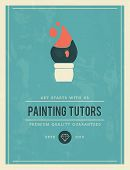 foto of tutor  - vintage poster for painting tutors vector illustration - JPG