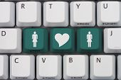 picture of hookup  - Online Dating A gray computer keyboard with woman and woman symbol with a heart in teal letters - JPG