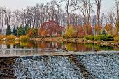 picture of duck pond  - ducks on an autumn pond with cascades - JPG