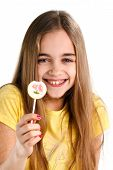 stock photo of lollipop  - blonde girl with a lollipop on a white background - JPG