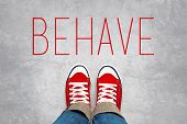 picture of politeness  - Behave Reminder for Young Person in Red Sneakers about to make a Step and Join the Party Top View - JPG