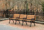 image of wood craft  - Hand crafted long wood bench outside on pretty brick patio with black - JPG