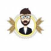 pic of geek  - geek male cartoon theme vector art illustration - JPG