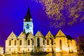 stock photo of sibiu  - Evanghelic cathedral church in Sibiu Transylvania Romania at night - JPG