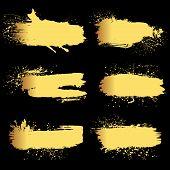 image of gold  - Set of 6 gold grunge elements - JPG