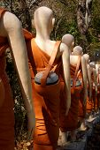 picture of stairway  - Statues of Buddhist nuns line the stairway at Sambuk Mountain Monastery Kratie Cambodia - JPG