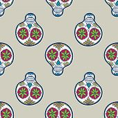 stock photo of sugar skulls  - Seamless pattern with sugar skull - JPG