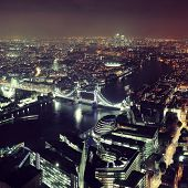 picture of london night  - London aerial view panorama at night with urban architectures and tower bridge - JPG