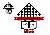 Постер, плакат: Chess match logo with chess board and clock