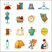 stock photo of tailoring  - Sewing tailoring and needlework decorative icons set isolated vector illustration - JPG