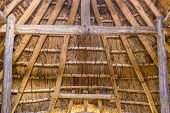 foto of viking  - Part of viking age village replica in southern Sweden in early spring - JPG