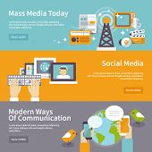 picture of mass media  - Social mass media banner horizontal set communication elements isolated vector illustration - JPG