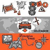 stock photo of gps navigation  - Navigation horizontal hand drawn banner set with traffic signs gps and maps elements isolated vector illustration - JPG