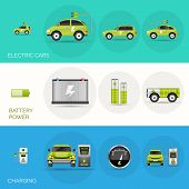picture of electric station  - Electric car horizontal banners set with battery charging power elements isolated vector illustration - JPG